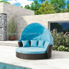 Outdoor Luxury Round Bed with Cushion PE Rattan Sofa with Canopy