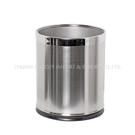 Guestroom Round Two Layers Stainless Steel Dustbin with Removable Top Ring
