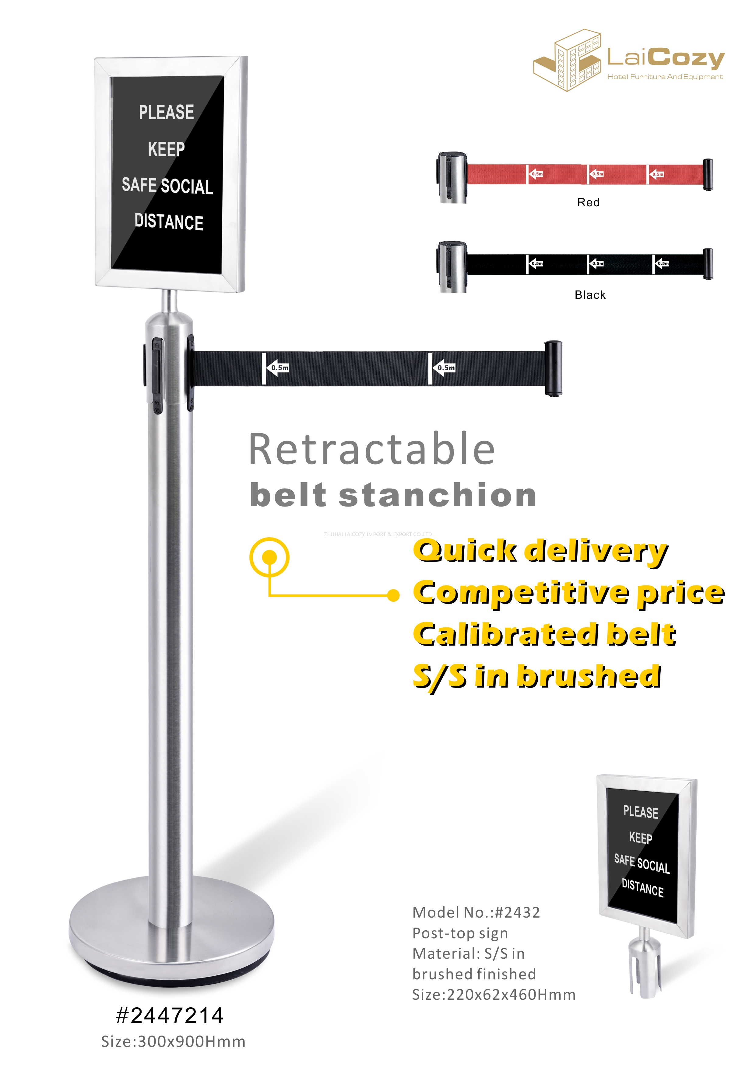 Crowd Control Barrier Retractable Post 201 Stainless Steel