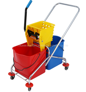 Cleaning Cart Down-press Double Plastic Bucket Mop Wringer