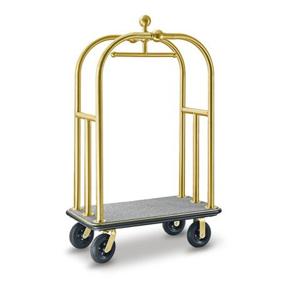 Luxury hotel metal luggage trolley with rubber wheels
