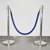 Crowd control velour stanchion ropes with stainless steel hooks