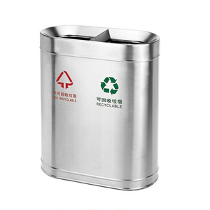 Hotel lobby Stainless steel dustbins double bins