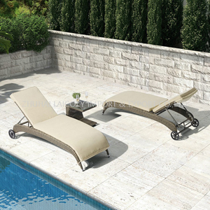 Outdoor Luxury PE Rattan Lounge with Cushion for Swimming Pool
