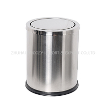 Bathroom Stainless Steel Brushed finished Dustbin with Swing Top Cover