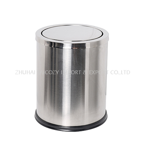 Bathroom stainless steel round indoor dustbins swing cover