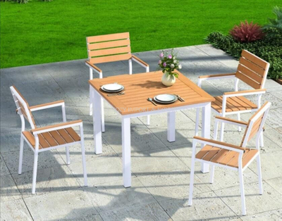 Outdoor Furniture Aluminium And WPC Table And Chairs