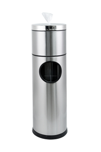 Floor Standing Gym Wet Wipes Dispenser 304 Stainless Steel with Removal Top Bucket Sanitizing Wipe Dispenser