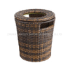 Round Towel Basket with Cover Aluminum Tube with PE Imitation Rattan Towel Kep