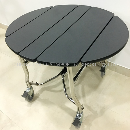 Foldable stainless steel room service trolley for hotel