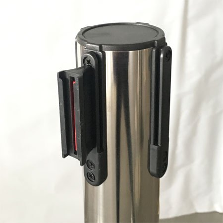 Crowd control stainless steel retractable red belt posts