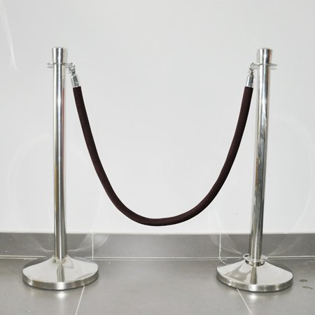 Hotel crowd control stanchion barrier velour rope black color