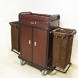 Hotel Housekeeping Metal Cleaning Maid Service Cart with locks