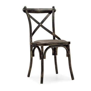 Vintage dining chair with steel frame and leather seat