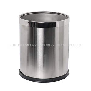 Guestroom Round Single Layer Stainless Steel Dustbin with removable top ring