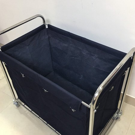 stainless steel laundry cart with black bag for hotel