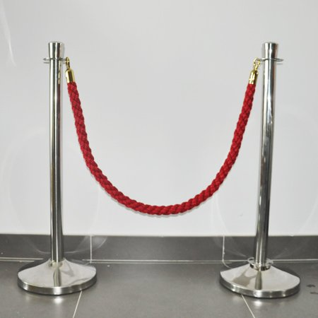 crowd control barrier poly rope with polished stainless steel hook