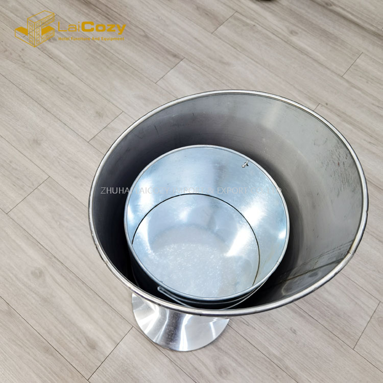 Hotel lobby stainless steel indoor metal dustbins with ashtray