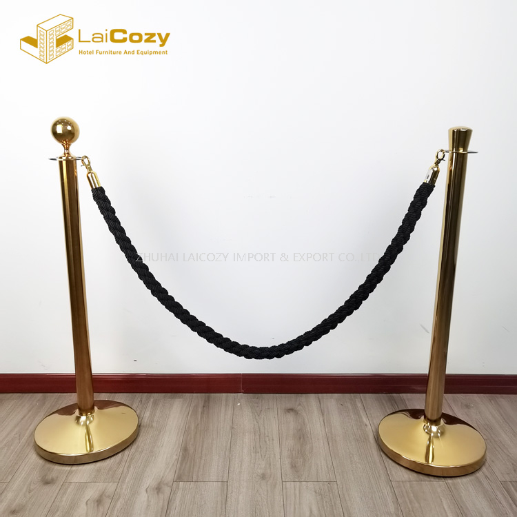 Crowd control Black stainless steel stanchions barrier rope