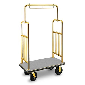 Golden Luxury foldable 304 Stainless Steel hotel bellman trolley